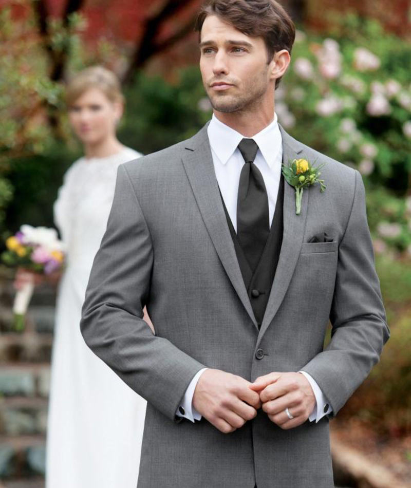 Model wearing a Boulevard Bride Tuxedo